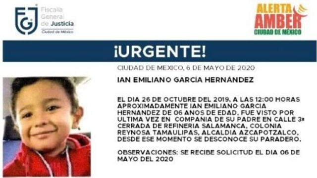Activan Alerta Amber para localizar a Ian Emiliano García Hernández. (@FiscaliaCDMX)