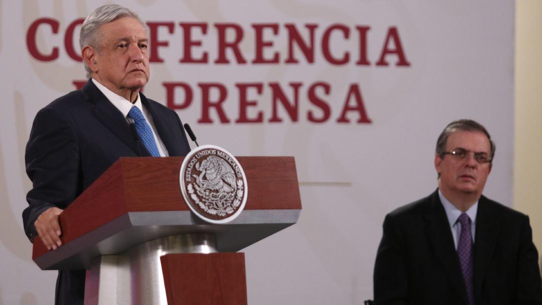 Foto: Andrés Manuel López Obrador (I), presidente de México, y Marcelo Ebrard (D), secretario de Relaciones Exteriores, encabezaron la conferencia mañanera, 8 mayo 2020