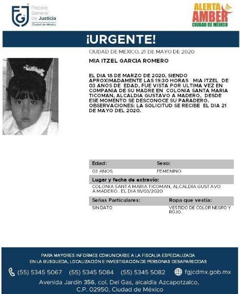 Activan Alerta Amber para localizar a Mía Itzel García Romero.(Foto: @FiscaliaCDMX)