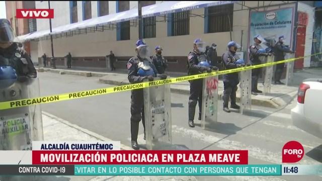 movilizacion policiaca en plaza meave en la ciudad de mexico