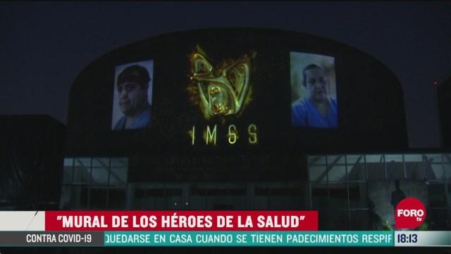 FOTO: 31 de mayo 2020, mural de los heroes de la salud un homenaje de varios artistas al personal medico del imss