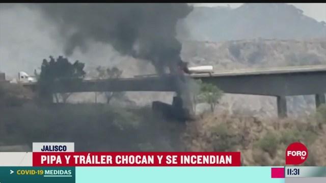 pipa choca contra trailer en la autopista guadalajara colima