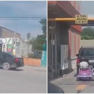 Video: Pizzería le niega servicio por llegar a pie; regresa en carrito de juguete