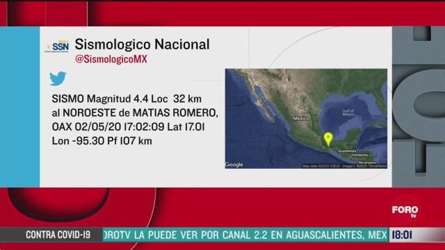 FOTO: 2 de mayo 2020, se registra sismo de magnitud 4 4 en el estado de oaxaca