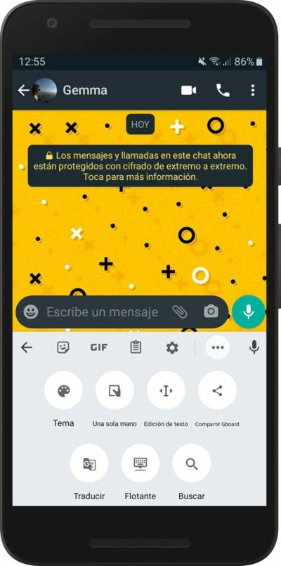 Traductor automático de WhatsApp a través de Gboard de Google
