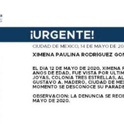 Activan Alerta Amber para localizar a Ximena Paulina Rodríguez González