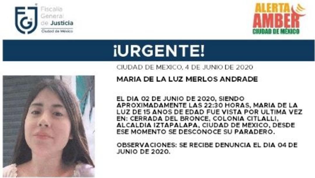 Activan Alerta Amber para localizar a María de la Luz Merlos Andrade, (@FiscaliaCDMX)