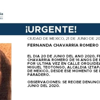 Activan Alerta Amber para localizar a Fernanda Chavarría Romero