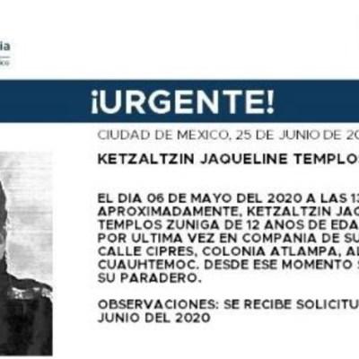 Activan Alerta Amber para localizar a Ketzaltzin Jacqueline Templos Zúñiga