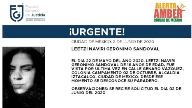 FOTO: Activan Alerta Amber para localizar a Leetzi Naviri Gerónimo Sandoval, el 03 de junio de 2020