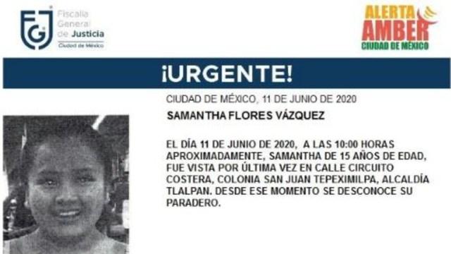 Activan Alerta Amber para localizar a Samantha Flores Vázquez. (Foto: @FiscaliaCDMX)