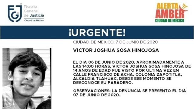 FOTO: Activan Alerta Amber para localizar a Víctor Joshua Sosa Hinojosa, el 8 de junio de 2020