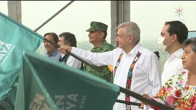 amlo da banderazo a inicio de tercer tramo del tren maya en yucatan