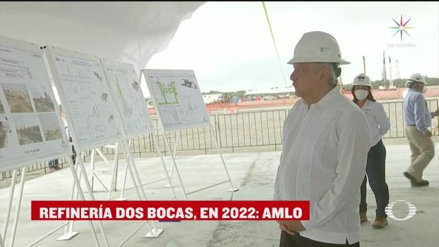 AMLO supervisa trabajos de construcción en refinería de Dos Bocas, Tabasco