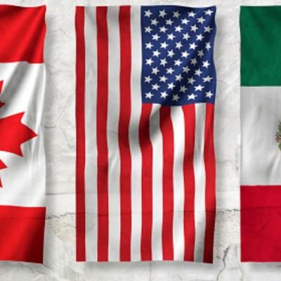 Banderas de Canadá, Estados Unidos y Canadá. Getty Images
