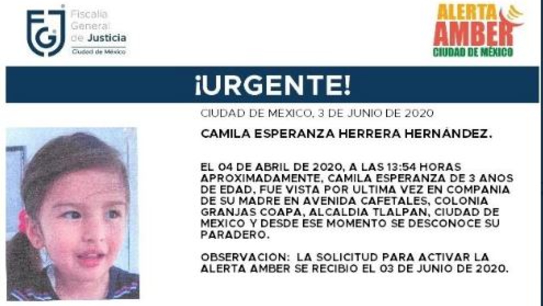 Activan Alerta Amber para localizar a Camila Esperanza Herrera Hernández. (@FiscaliaCDMX)