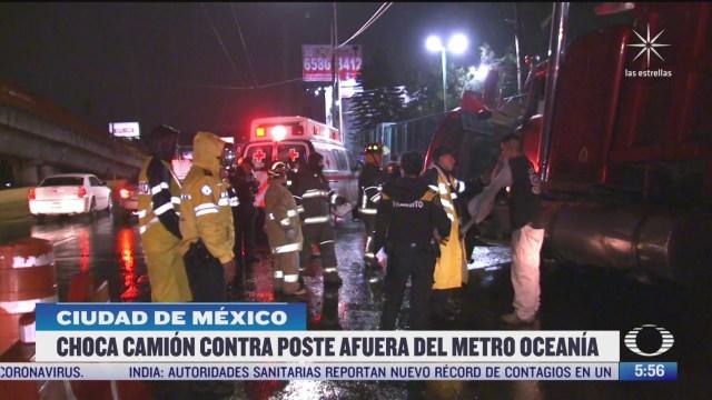 camion de volteo atropella a un trabajador cerca del metro oceania en cdmx