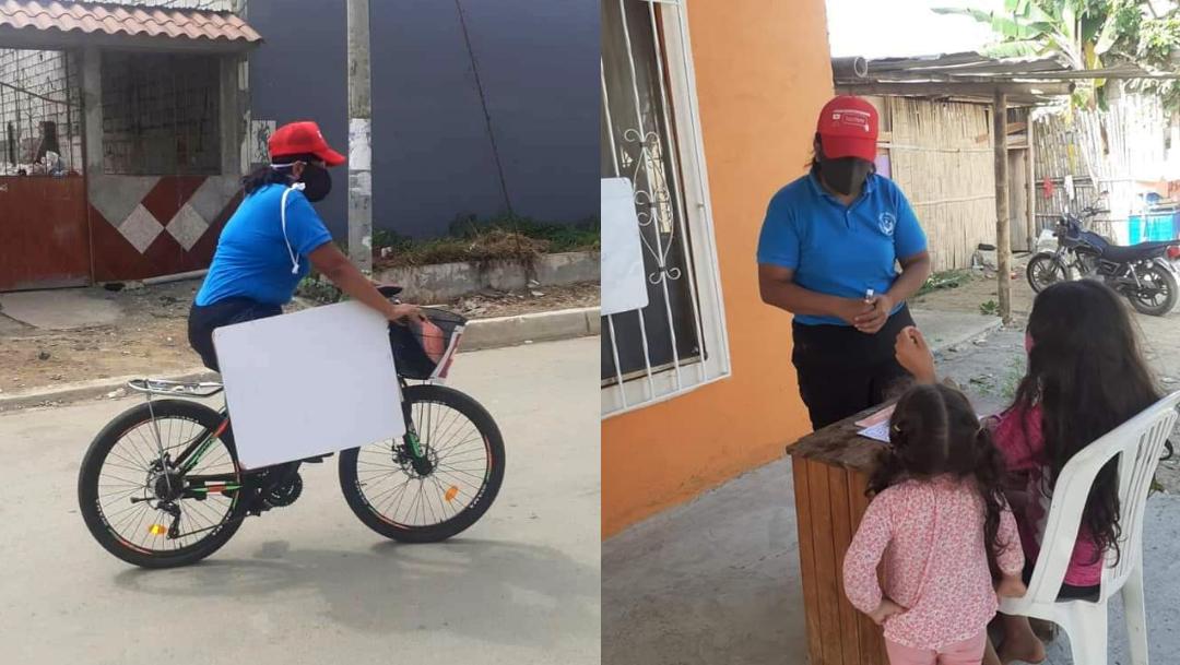 mujer en bicicleta con pizarra blanca mujer dando clase dos niños