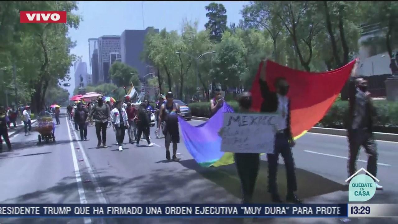 FOTO: 27 de junio 2020, cerca de 100 personas participan en marcha del orgullo gay en paseo de la reforma