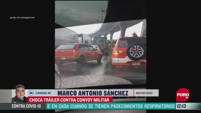 choca trailer contra convoy militar en la cdmx