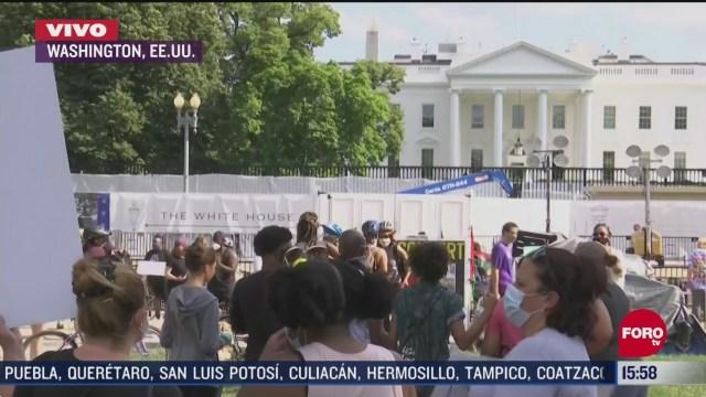 FOTO: 13 de junio 2020, cientos de personas protestan frente a la casa blanca por la muerte de george floyd