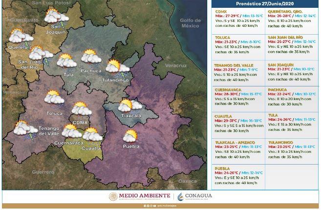 Pronóstico meteorológico del sábado 27 de junio.(Foto: https://smn.conagua.gob.mx/)