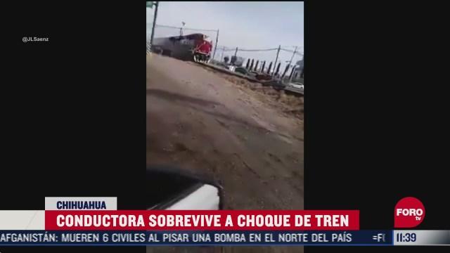 conductora sobrevive a choque de tren en chihuahua