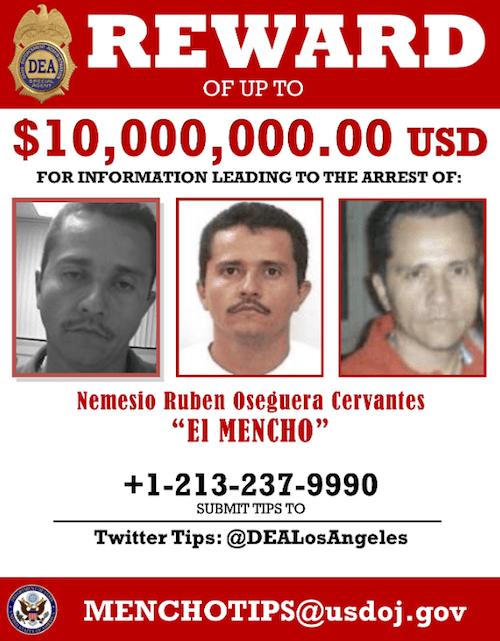 El Mencho Rostro Criminal Buscado DEA Cartel