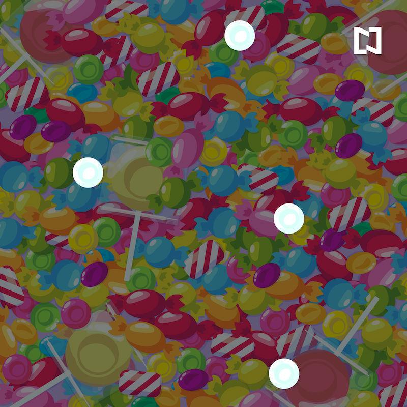 Reto visual para encontrar los 4 dulces de menta entre los caramelos, ilustración