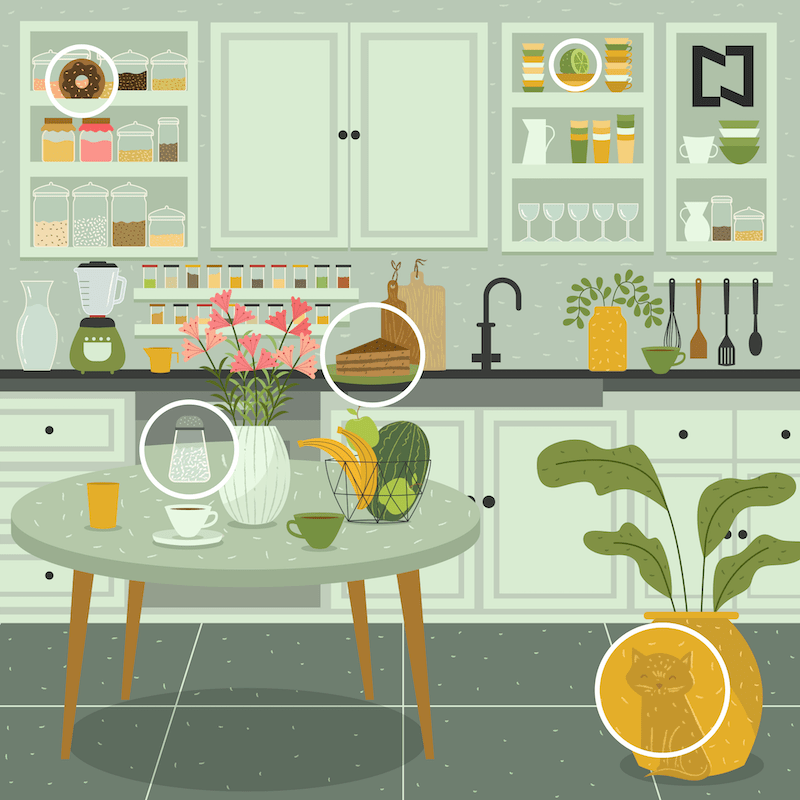 ¿Nos ayudas a encontrar al gatito y otros 4 objetos en esta imagen?