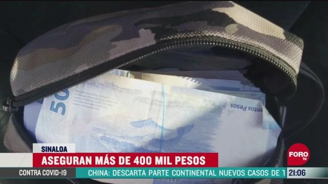 FOTO: 7 de junio 2020, guardia nacional asegura mas de 414 mil pesos en sinaloa