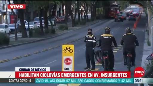 habilitan ciclovias emergentes en avenida insurgentes cdmx
