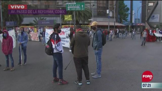 integrantes de la cnte de michoacan bloquean reforma marcharan al zocalo cdmx