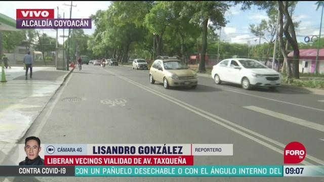 liberan bloqueo en la vialidad de avenida taxquena