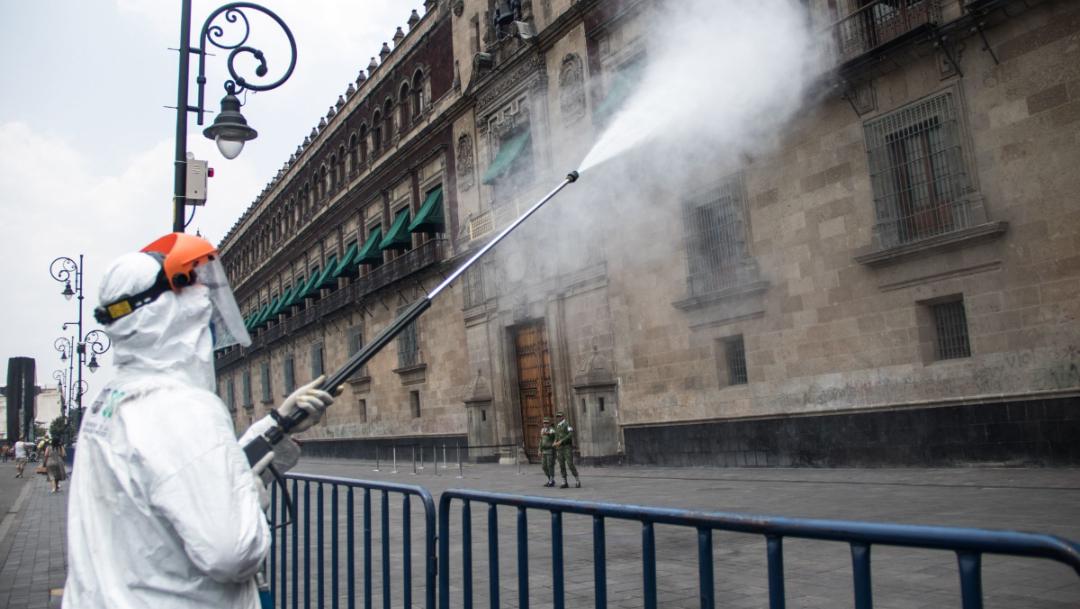 Limpieza Palacio Nacional en Centro Historico que se prepara para su reapertura