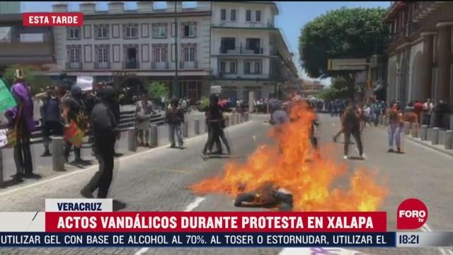 FOTO: manifestantes vandalizan centro de xalapa veracruz