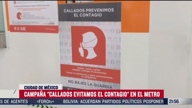 """Metro CDMX inicia campaña """"Callados evitamos el contagio"""""""