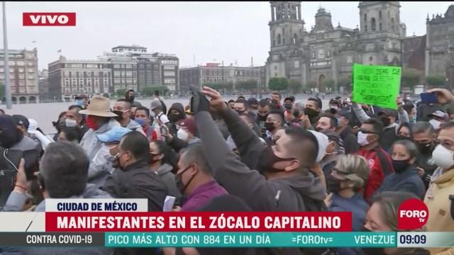 policias se manifiestan en el zocalo capitalino cdmx