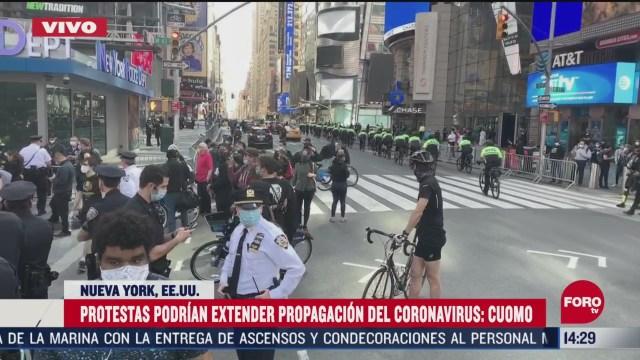 FOTO: protestas podrian extender propagacion de coronavirus en nueva york