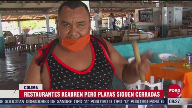 FOTO: 27 de junio 2020, restauranteros reabren negocios pese a que playas estan cerradas en colima