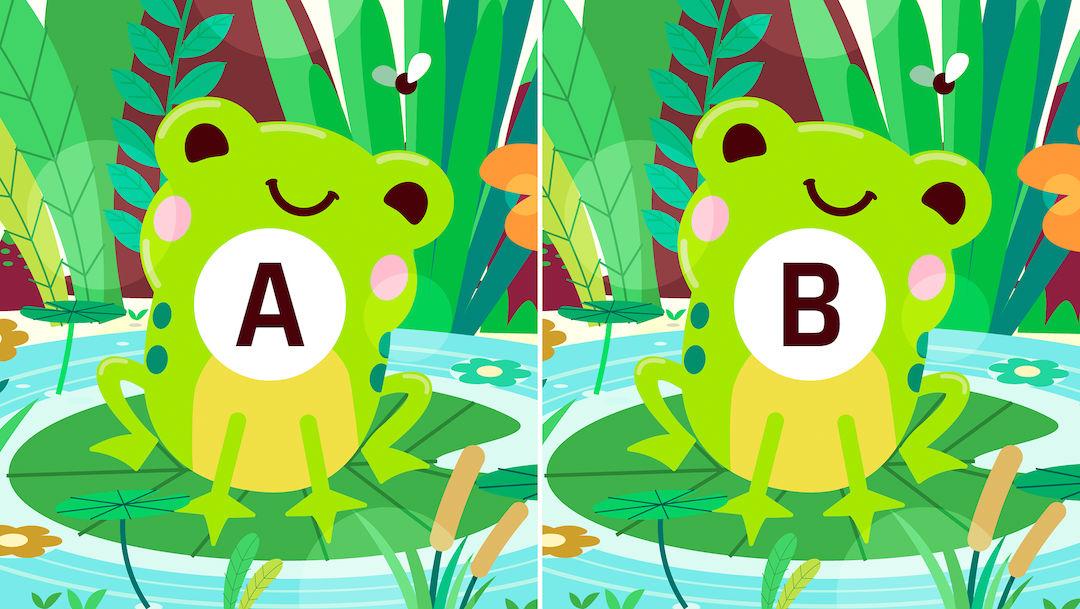 ¿Puedes encontrar las diferencias entre estas dos ranitas?