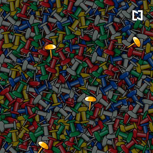 Reto Visual Encuentra Tachuelas Doradas Respuesta, Ilustración