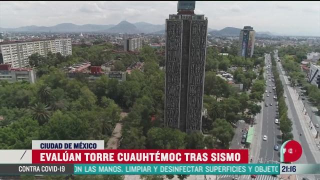 Torre Cuauhtémoc en Tlatelolco revisada pro elementos de protección Civil de CDMX tras sismo