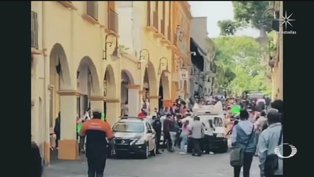 Comerciantes ambulantes en cuernavaca morelos se enfrenat con autoridades