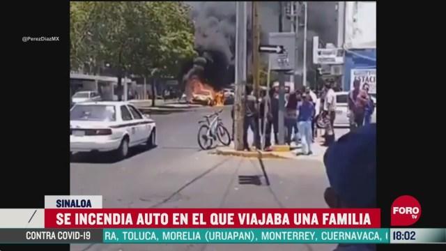 FOTO: se incendia vehiculo en el que viajaba familia en culiacan