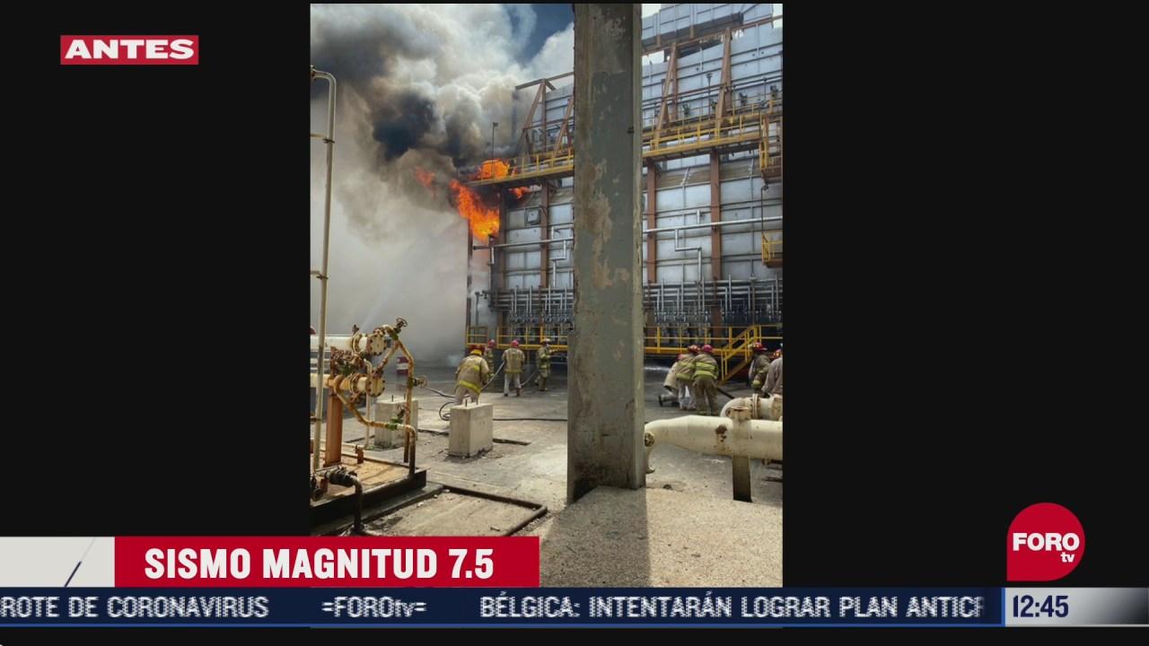 FOTO: se registra conato de incendio en una refineria de salina cruz tras sismo en oaxaca