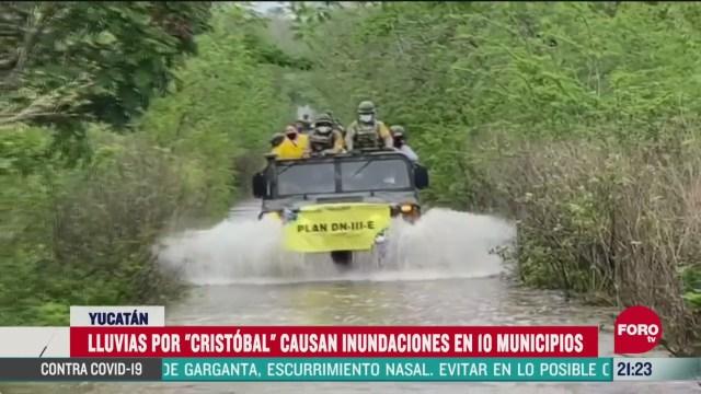 se registran inundaciones en diez municipios de yucatan