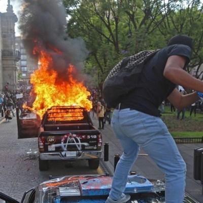 Suman 28 detenidos por disturbios durante protesta en Guadalajara por Giovanni López