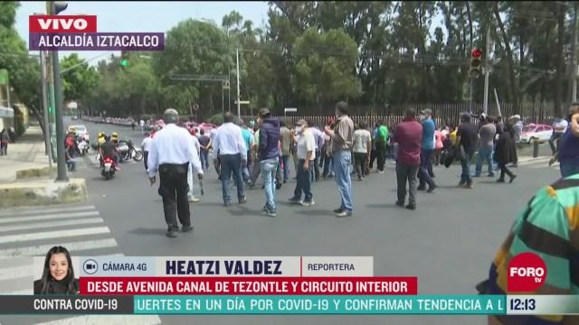 taxistas protestan en la alcaldia iztacalco
