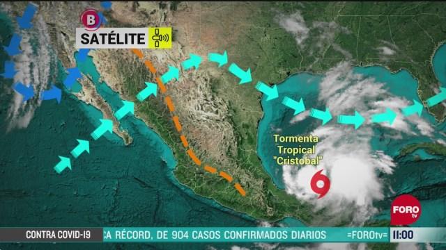 tormenta tropical cristobal toca tierra en campeche